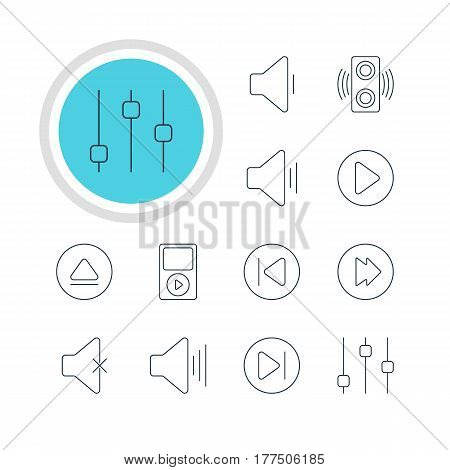 Vector Illustration Of 12 Melody Icons. Editable Pack Of Preceding, Volume Up, Rewind And Other Elements.