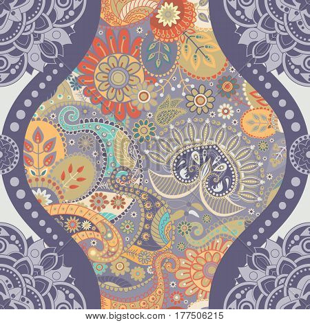 Floral seamless pattern in paisley style. Vertical indian backdrop