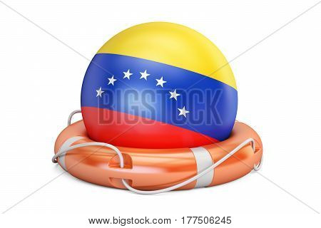 Lifebelt with Venezuela flag safe help and protect concept. 3D rendering
