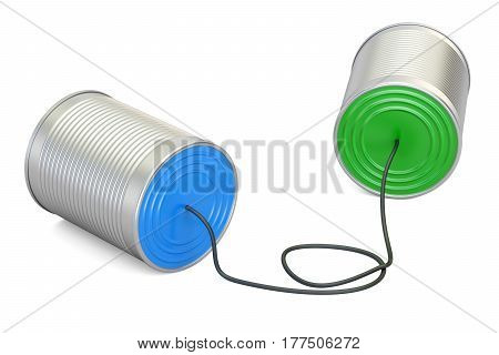 Tin can phone 3D rendering isolated on white background