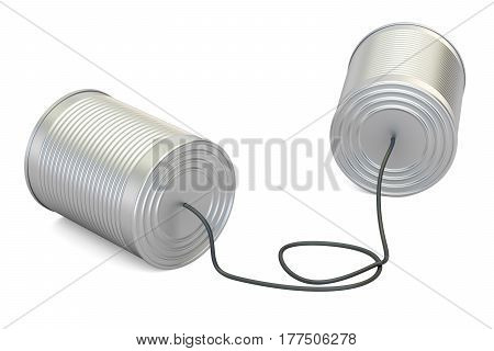 Tin cans telephone 3D rendering isolated on white background