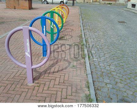 Coloured Bike Rails In Collegno