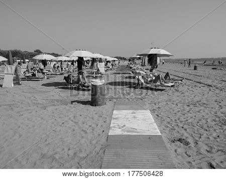 Venezia Lido Beach In Venice In Black And White