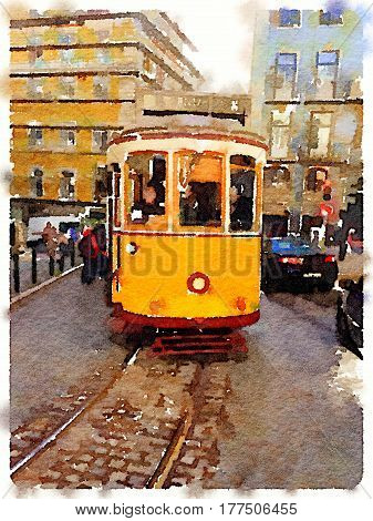 Digital watercolor painting of a traditional vintage yellow tram in Lisbon Portugal traveling through the city with the tram line showing.