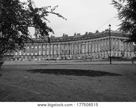 Royal Crescent Row Of Terraced Houses In Bath In Black And White