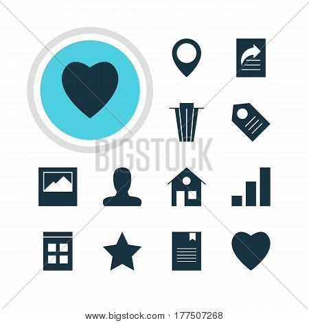Vector Illustration Of 12 Web Icons. Editable Pack Of House, Bookmark, Love And Other Elements.