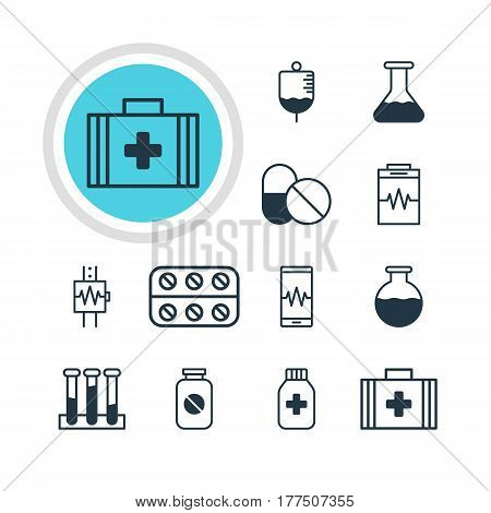 Vector Illustration Of 12 Health Icons. Editable Pack Of Medicine Jar, Flask, Phone Monitor And Other Elements.