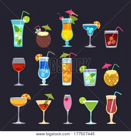 Tropical Cocktails, Juice, Wine And Champagne Glass Set On Black Background. Vector Hand Drawn Doodl