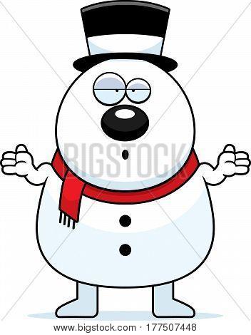 Confused Cartoon Snowman