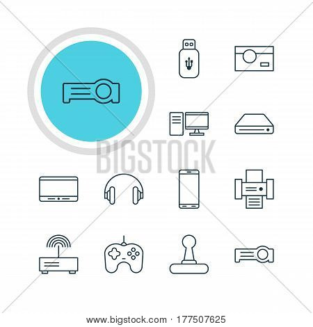 Vector Illustration Of 12 Device Icons. Editable Pack Of Floodlight, Joypad, PC And Other Elements.