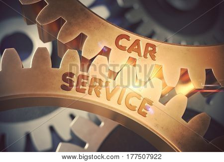 Car Service on the Mechanism of Golden Metallic Cogwheels with Glow Effect. Car Service on Mechanism of Golden Metallic Cogwheels with Lens Flare. 3D Rendering.