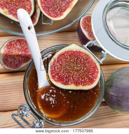 Fig jam in a jar. Homemade fruit jam