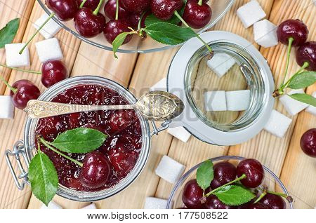 Cherry jam in a jar. Homemade fruit jam