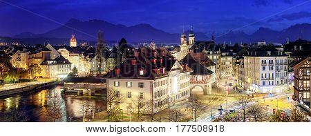 Lucerne, Switzerland, Panoramic View At Evening