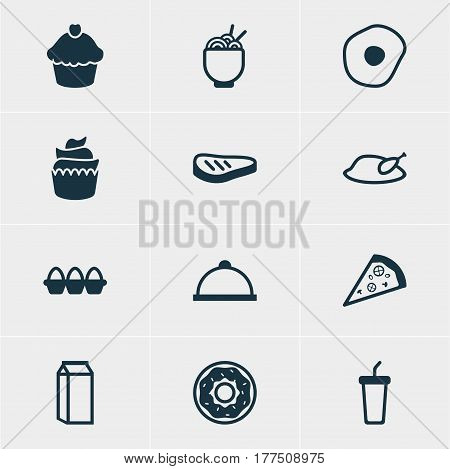 Vector Illustration Of 12 Cooking Icons. Editable Pack Of Cake, Spaghetti, Soft Drink And Other Elements.