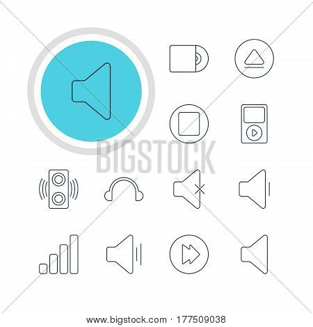 Vector Illustration Of 12 Melody Icons. Editable Pack Of Pause, Earphone, Soundless And Other Elements.