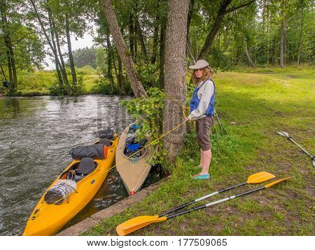 River Wda Poland - August 24 2016: Kayakers during canoeing excursion