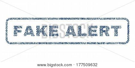 Fake Alert text textile seal stamp watermark. Blue jeans fabric vectorized texture. Vector caption inside rounded rectangular shape. Rubber sign with fiber textile structure.