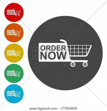 Order now icon, Web elements for ecommerce, Shopping cart icon
