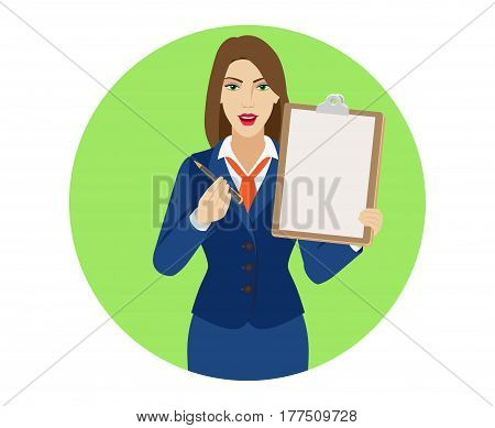 Businesswomen giving pen for your signature on clipboard. Portrait of businesswoman in a flat style. Vector illustration.