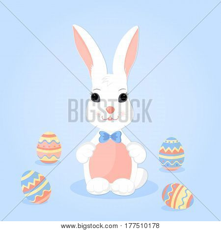Easter Bunny with pink ears in a blue bow and paschal eggs