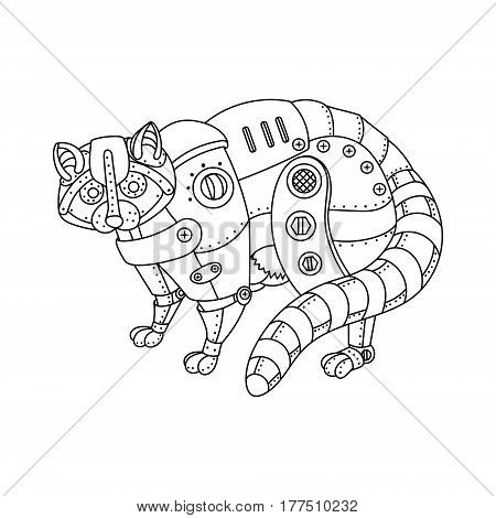 Steam punk style raccoon. Mechanical animal. Coloring book vector illustration.