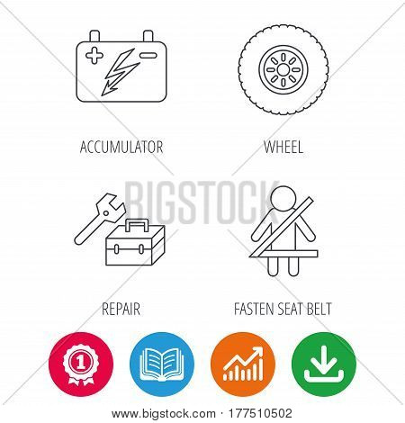 Accumulator, wheel and car service icons. Repair toolbox, fasten seat belt linear signs. Award medal, growth chart and opened book web icons. Download arrow. Vector