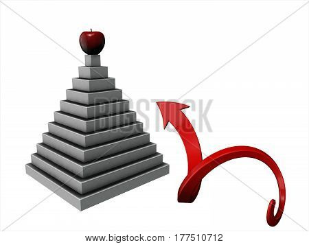Path To The Top Of The Pyramid Illustration Is Isolated