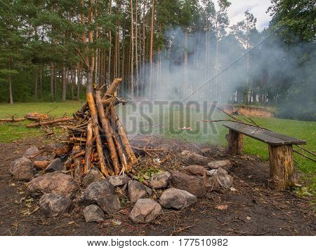 Campfire during a canoeing excursion Poland Wda