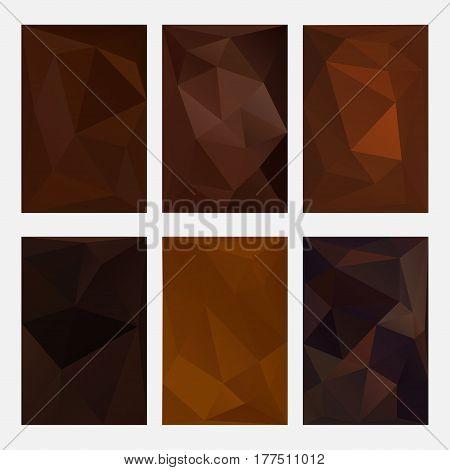 Set of brown wrinkled paper on light wooden background, triangular illustration