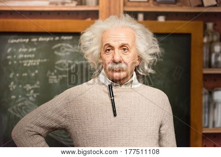 ISTANBUL, TURKEY - MARCH 16, 2017: Albert Einstein  wax figure at Madame Tussauds wax museum in Istanbul.