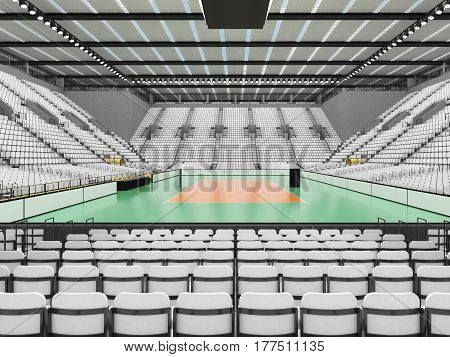 Beautiful Sports Arena For Volleyball With White Seats And Vip Boxes