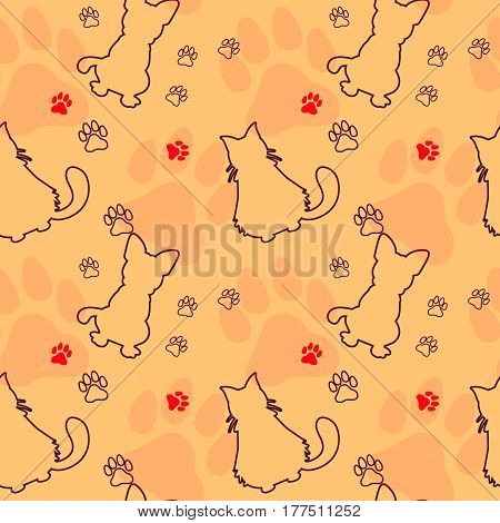 Animal seamless vector pattern of cat and dog silhouettes. Endless texture can be used for printing onto fabric, web page background and paper or invitation.