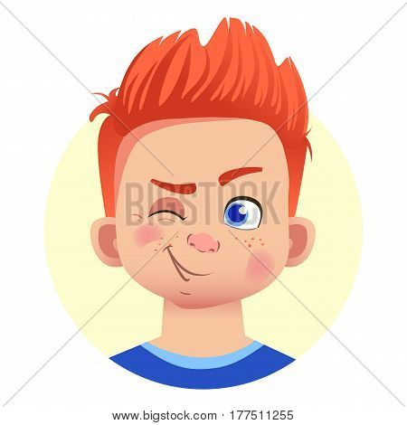 Set of human emotions. Facial expression. Set of emoticons. Flat vector illustration. Wink