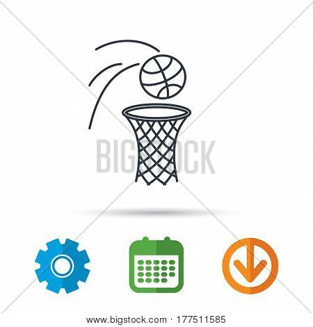 Basketball icon. Basket with ball sign. Professional sport equipment symbol. Calendar, cogwheel and download arrow signs. Colored flat web icons. Vector