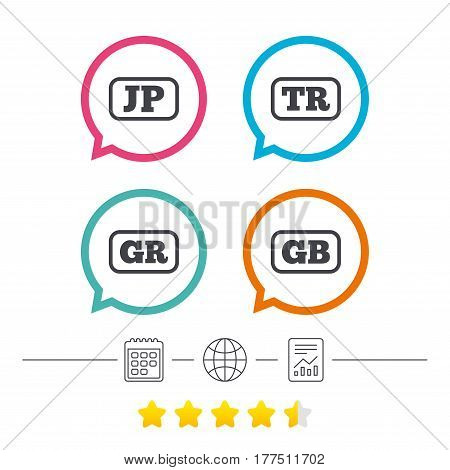 Language icons. JP, TR, GR and GB translation symbols. Japan, Turkey, Greece and England languages. Calendar, internet globe and report linear icons. Star vote ranking. Vector
