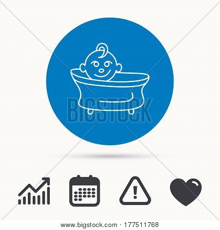 Baby in bath icon. Toddler bathing sign. Newborn washing symbol. Calendar, attention sign and growth chart. Button with web icon. Vector