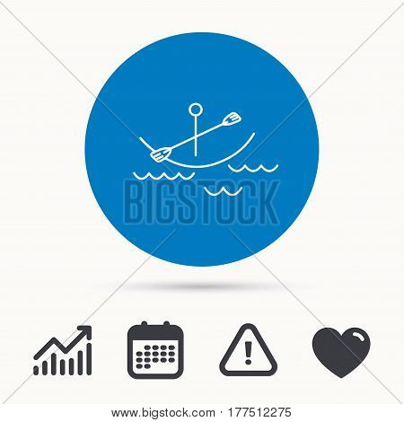 Kayaking on waves icon. Boating or rafting sign. Canoeing extreme sport symbol. Calendar, attention sign and growth chart. Button with web icon. Vector