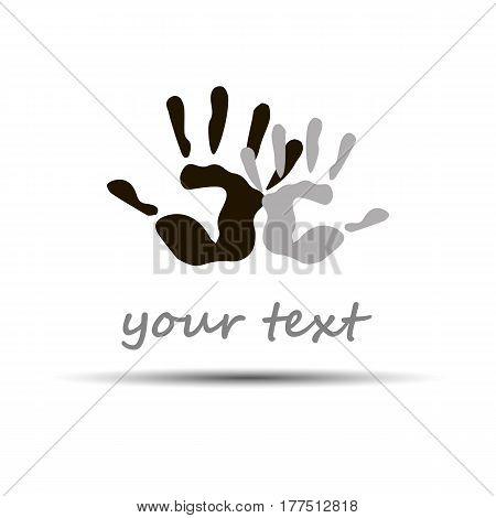 vector color hand handprint human print symbol