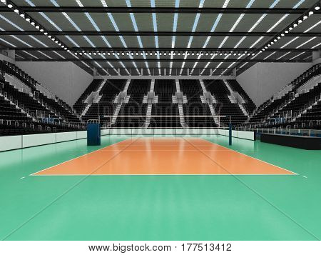 Beautiful Sports Arena For Volleyball With Black Seats And Vip Boxes
