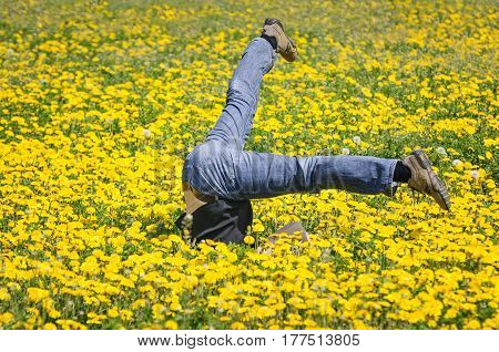 man is falling down in spring time
