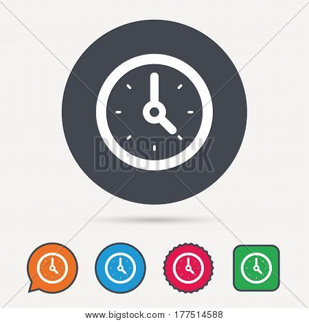 Clock icon. Mechanical watch symbol. Circle, speech bubble and star buttons. Flat web icons. Vector