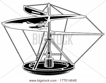 Helicopter Flying Machine Invention Illustration Isolated Vector