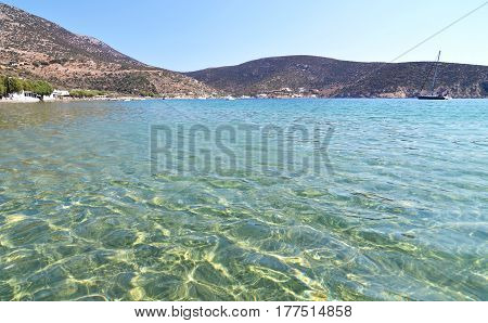Vathi beach at Sifnos island Cyclades Greece