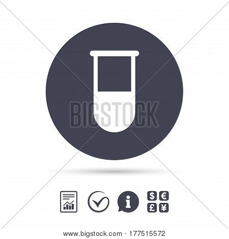 Medical test tube sign icon. Laboratory equipment symbol. Report document, information and check tick icons. Currency exchange. Vector