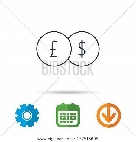 Currency exchange icon. Banking transfer sign. Pound to Dollar symbol. Calendar, cogwheel and download arrow signs. Colored flat web icons. Vector