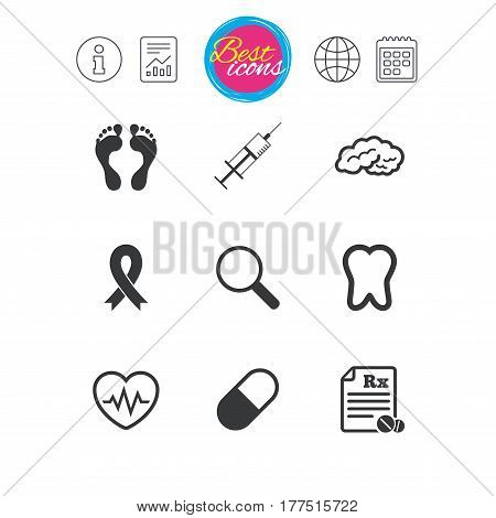 Information, report and calendar signs. Medicine, medical health and diagnosis icons. Syringe injection, heartbeat and pills signs. Tooth, neurology symbols. Classic simple flat web icons. Vector