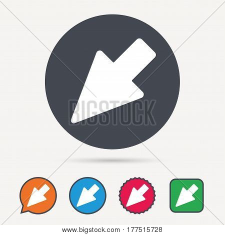 Cursor icon. Computer position marker symbol. Circle, speech bubble and star buttons. Flat web icons. Vector
