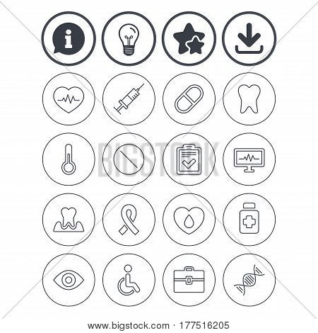 Information, light bulb and download signs. Medicine icons. Syringe, heartbeat and pills symbols. Tooth health, eye and blood donate. Awareness ribbon. Best quality star symbol. Flat buttons. Vector
