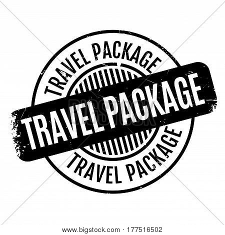 Travel Package rubber stamp. Grunge design with dust scratches. Effects can be easily removed for a clean, crisp look. Color is easily changed.